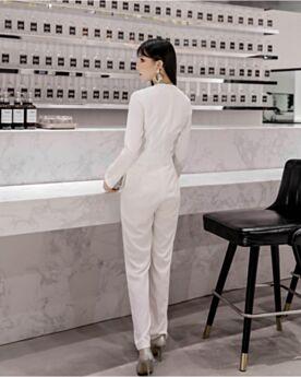 白 オフィス フレア パンツ ドレス ラップ 長袖 ロング 72520190102