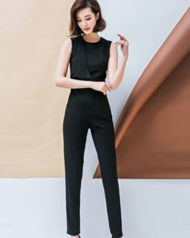 Charming Cigarette Sheath Black Work Maxi Jumpsuits