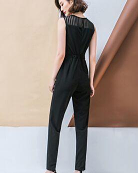 Schwarz Jumpsuit Damen Trauzeugin Kleid Elegante Businesskleid Zigarettenhose Chiffon Etui Lange