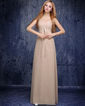 Bandeau Simple Maternity Formal Evening Dress Long Backless Sheath Bridesmaid Dress Beautiful Chiffon