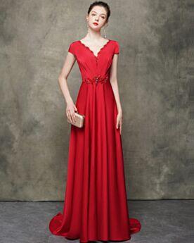Espalda Descubierta Rojos Elegantes Corte A Vestidos De Noche Escotados
