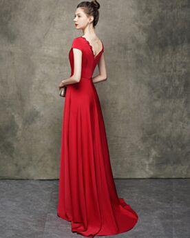 A Lijn Rode Elegante Avondjurken Laag Uitgesneden Open Rug