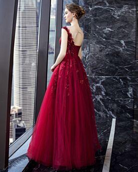 Burgunderrot Schönes Tüll Abendkleider Kleider Für Festliche Ärmellos Rückenausschnitt Brautjungfernkleider Lange Tiefer Ausschnitt Fit N Flare Ballkleid