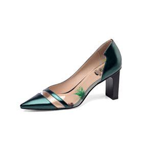 Lack Smaragdgrün Spitz Zeh Ausgehen Pumps Chunky Heel Mit 8 cm Absatz