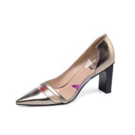 Piel Color Champagne En Punta Fina Charol 2020 8 cm Tacon Alto Casuales Modernos Tacon Ancho Zapatos Mujer