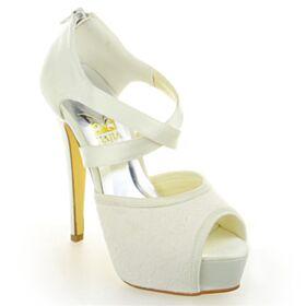 13 cm Talon Haut Peep Toes Plateforme Chaussure De Mariée Dentelle Satin Ivoire Sandale Élégant Talon Aiguille