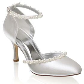 Sandaletten Mit 8 cm High Heel Stilettos Schönes Knöchelriemen Runde Zeh Ivory Brautschuhe Mit Perle
