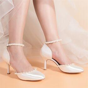 Sandales Femme Talons Hauts Ivoire Bride Cheville Chaussure Mariée Bout Rond Avec Perle Talons Aiguilles Belle