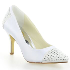 Blancos Stilettos 8 cm Tacon Alto Zapatos Con Tacon Zapatos De Novia Elegantes