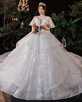 Décolleté Élégant Glitter Dos Nu Robes De Mariée Dentelle Luxe Brillante Boule