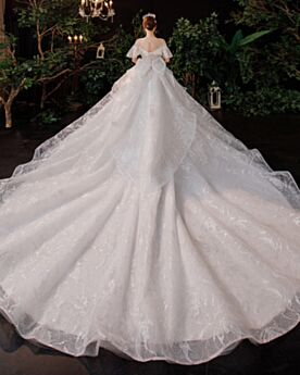 Backless White Bridal Gowns Sparkly Lace Glitter Low Cut
