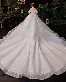 Blancos Elegantes Lazo Purpurina Princesa Brillantes Lujo Vestidos De Boda Largos Con Encaje
