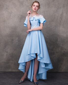 Graduation Dresses Asymmetrical Fit And Flare Cocktail Dresses Off The Shoulder High-Low Open Back Sky Blue Knee Length Beautiful