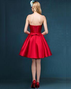 Applikationen Kurze Cocktailkleid Fit N Flare Tragerloses Brautjungfernkleid Rückenfreies Spitzen Rot