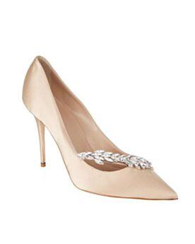 Zapatos Brillantes Color Champagne Tacones Altos 8 cm Stiletto