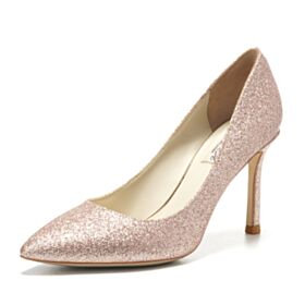 Sparkly 8 cm High Heels Pointed Toe Glitter Stiletto Heels Pumps Wedding Shoes Prom Shoes Champagne