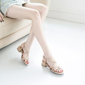 1 inch Kitten Heel Leather Sandals Chunky Heel Going Out Shoes Gladiator Strappy Suede Nude Block Heel