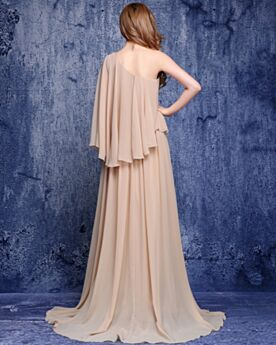 Mother Of Groom Dress Long Chiffon Slit Long Sleeved Formal Evening Dresses With Train One Shoulder Straight Ruffle