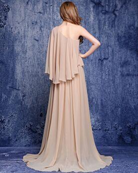 Vestiti Per Matrimonio Abiti Da Cerimonia Manica Lunga Modesti Chiffon A Balze Champagne