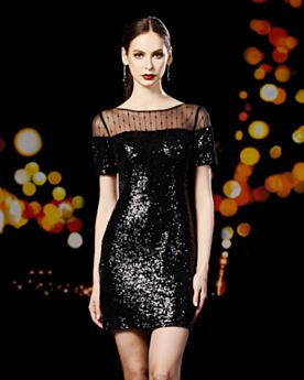 Corti Maniche Corte Little Black Dress Neri Girocollo Paillettes Vestiti Da Cocktail Abiti Cerimonia