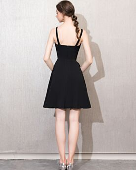 Party Dress For Wedding Backless Black Short Spaghetti Strap For Juniors