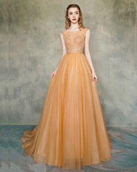 Rückenfreies Orange Ärmellos Ballkleid Schönes Konfirmationskleid Abendkleider Lange