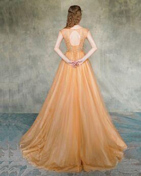 Tulle Princess Orange Formal Dresses Cute Prom Dress Sleeveless Open Back