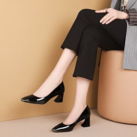 Patent Leather Mid Heels Black Pumps Shoes Work Shoes Classic