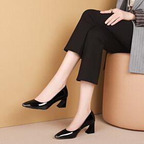Zapatos Tacon 6 cm Tacon Para Trabajo Negros Cuero Punta Redonda Tacon Ancho Clasicos