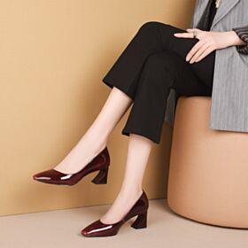 6 cm Mid Heel Work Shoes Chunky Heel Leather Pumps Burgundy