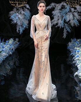 Vestiti Prom Eleganti Gioiello Schiena Scoperta Abiti Cerimonia A Sirena Paillettes Abiti Da Sera Lunghi Champagne