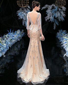 Brillantes Largos Vestidos De Gala Sin Espalda De Lujo Color Champagne Con Media Manga Lentejuelas Vestidos De Noche