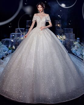 Low Cut Tulle White Ball Gowns Glitter Gorgeous Bridal Gowns Sequin Sparkly Open Back