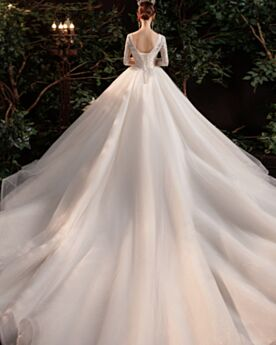 Ball Gowns Plunge Long Luxury Lace Sparkly Ivory Charming Long Sleeves Sequin Bridals Wedding Dress