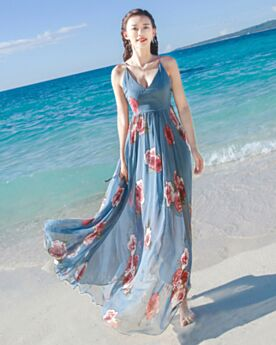 Tenue De Plage Empire Maxi Simple Décolleté Mousseline Trapeze Robes Bleu Nuit Bretelles Fines