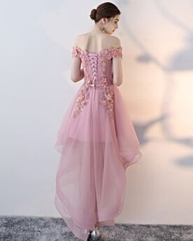 Asymmetrical Sleeveless Cocktail Dress Open Back Blush Pink Lace Bohemian Tulle High-Low Juniors 2018 Homecoming Dresses Short
