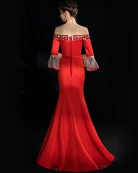 Bell Sleeve Half Sleeve Beaded Long Elegant Prom Dresses Mermaid Evening Dress Off The Shoulder