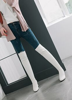 White Over Knee Boots High Heel 3 inch Flounce Boots For Women Going Out Shoes Chunky Heel Pointed Toe