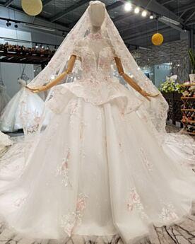 Avec La Queue Originale Dentelle Robe De Mariage Longue Epaule Dénudée Élégant Décolleté Tulle Peplum Boule