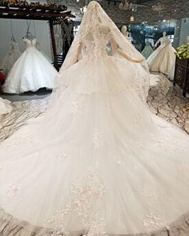 Lange Vintage Schößchen Brautkleider Schulterfreies Rückenfreies Weiß Spitzen Tiefer Ausschnitt Elegante