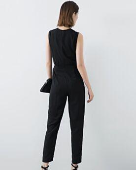 パンツ ドレス プリーツ オフィス ノースリーブ カジュアル ブラック シフォン シース 74520190117