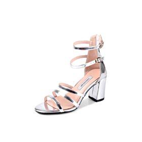 De Charol Tacon Medio Zapatos De Fiesta Sandalias Gladiador Tacon Ancho Color Plata