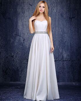 Simple Beaded 2019 Long Formal Evening Dresses Open Back Empire White Strapless Elegant