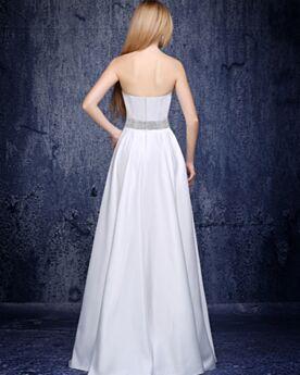 Ärmellos 2019 Perlen Festliche Kleider Elegante Schulterfreies Abendkleider Weiß Schlichte Empire Lange