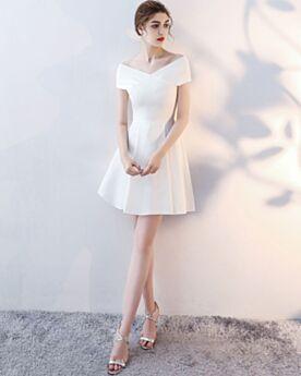 Blancos Cortos Vestidos Semi Formales Hombros Caidos Sencillos