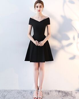 Summer Simple 2019 Black Satin Juniors Fit And Flare Off The Shoulder Short Little Black Dress