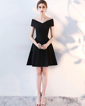 Vestidos Semi Formales Corto Hombros Caidos Manga Corta Negros