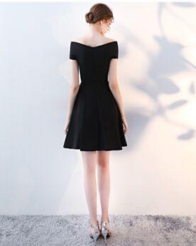 Little Black Dress Con Scollo A Barca Semplici Neri Maniche Corte Vestiti Da Cerimonia Raso