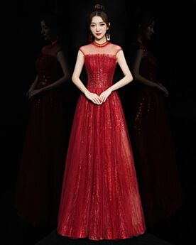 Open Back Sequin Tulle Formal Evening Dresses A Line Prom Dress Long Red