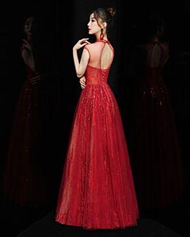 Lunghi A-Line Abiti Da Cerimonia Rosso Collo Alto In Tulle Vestiti Prom Paillettes Luccicante Abiti Damigella Senza Maniche